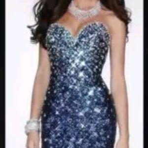 Sexy Crystal formal evening dress royal blue